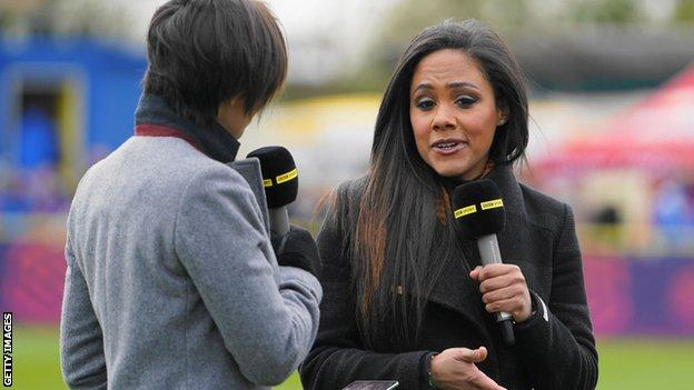 Alex Scott as part of BBC TV coverage on the WSL