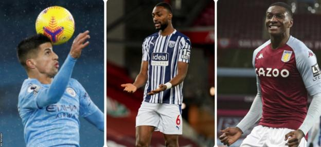 Manchester City's Joao Cancelo, Semi Ajayi of West Brom and Kortney Hause of Aston Villa
