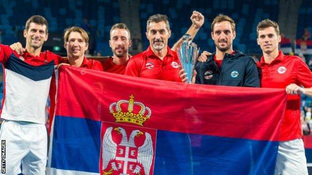 Serbia celebrate winning the ATP Cup final against Spain at Ken Rosewall Arena on 12 January, 2020 in Sydney