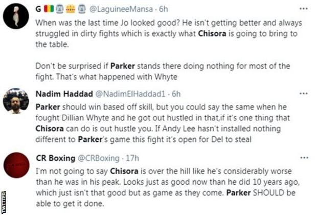 Fans on Twitter discuss who will win between Derek Chisora and Joseph Parker, one fan says Parker should be able to get it done while another says Chisora could out hustle the Kiwi fighter