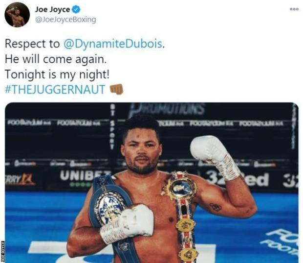 Joe Joyce tweets an image of himself holding the British title