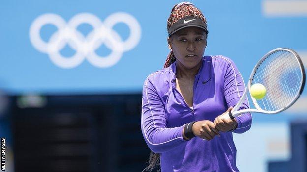 Naomi Osaka training on Center Court at the Ariake Tennis Park