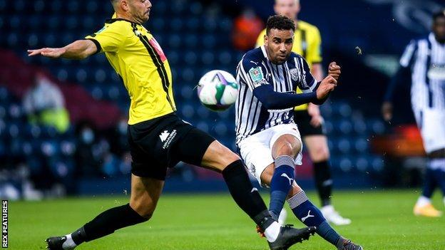 West Brom's Hal Robson-Kanu scores for West Brom against Harrogate Town in the Carabao Cup