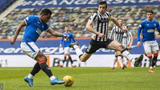 Alfredo Morelos netted from a tight angle to double Rangers' lead