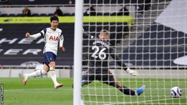 Tottenham forward Son Heung-min scores in the 3-1 defeat by Manchester United