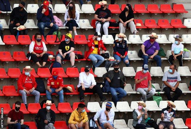 Fans watch from the Barcelona stands