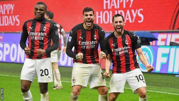 Theo Hernandez celebrates scoring for AC Milan against Lazio