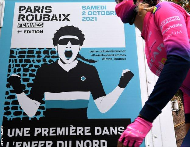 A poster advertising the first women's Paris-Roubaix