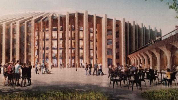 Artist's impression of the new Stamford Bridge stadium