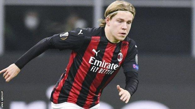 Hauge played off the left and was a constant threat with his elegant dribbling, scoring once and helping set up another two of Milan's goals