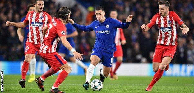 Eden Hazard takes on Atletico Madrid