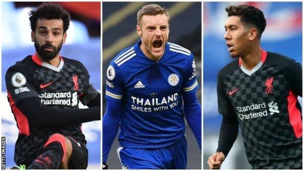 Liverpool's Mohamed Salah, Leicester's Jamie Vardy, Liverpool's Roberto Firmino