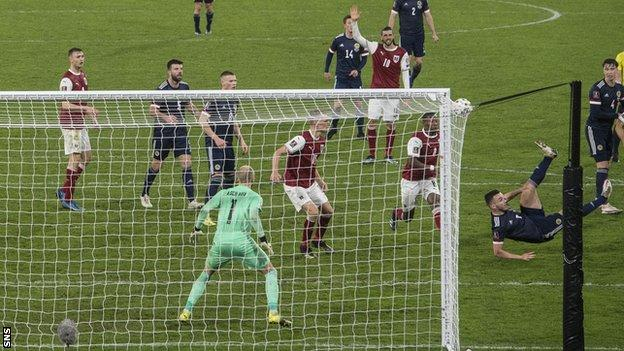 John McGinn scores for Scotland against Austria