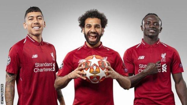 Liverpool's Roberto Firmino, Mohamed Salah and Sadio Mane