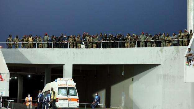 Cameroonian security forces on duty at the Limbe Stadium during the 2020 African Nations Championship (CHAN)