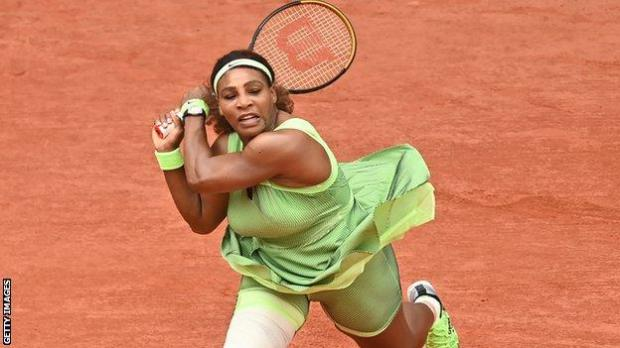Serena Williams after hitting a backhand