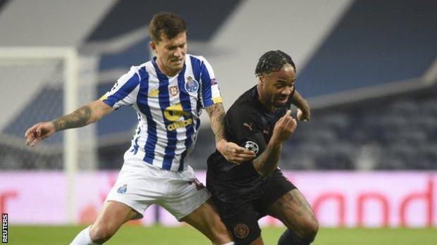 Raheem Sterling (right) duels with Porto's Otavio
