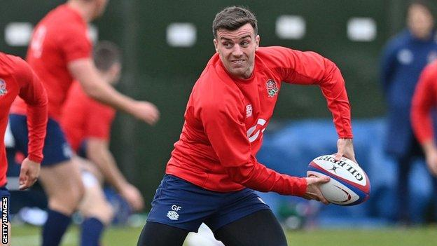 George Ford passes the ball