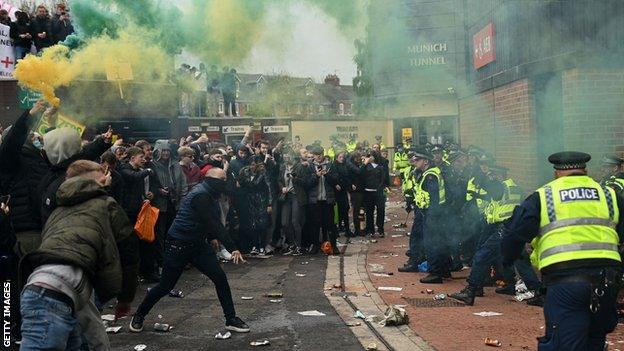 Manchester United's game against Liverpool was postponed after fans protests at Old Trafford