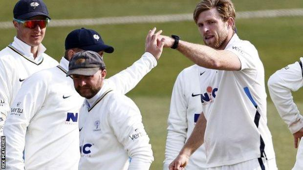 David Willey celebrates a wicket for Yorkshire against Kent