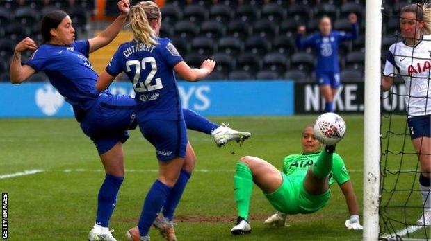 Chelsea Women striker Sam Kerr (far left) scores her second goal against Tottenham