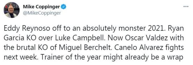 The Athletic's Mike Coppinger tweets that Reynoso may have the 'Trainer of the Year' award sewn up already