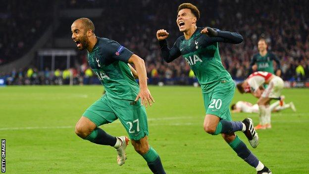 Lucas Moura celebrating after scoring the winner