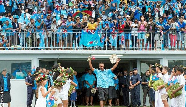 Fiji team arrive at the national stadium in Suva in 2016