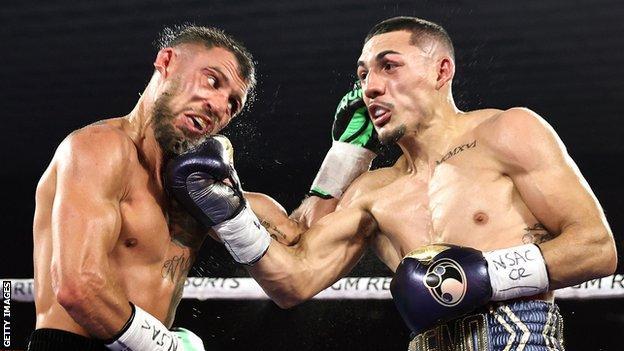 Teofimo Lopez (right) beat Vasyl Lomachenko in Las Vegas