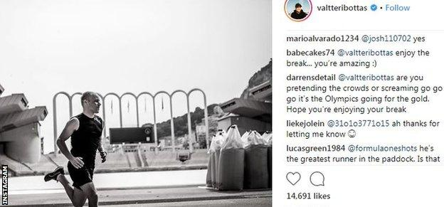 This is a picture posted on Instagram of Valtteri Bottas running at Monaco's Stade Louis II