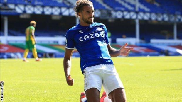 Dominic Calvert-Lewin celebrates scoring for Everton