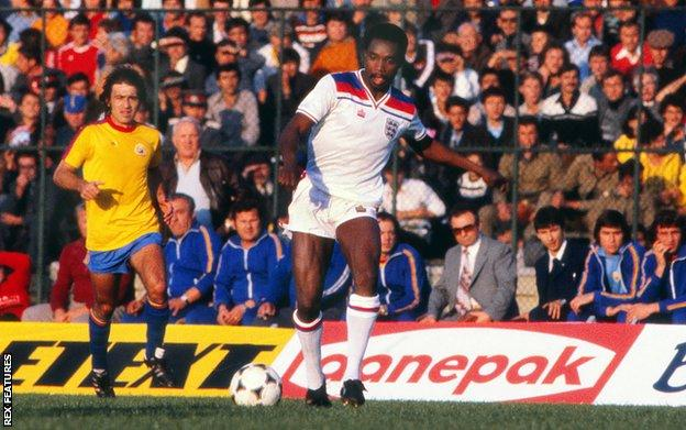 Cunningham playing for England in a 1982 World Cup qualifier against Romania