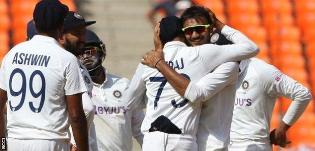 Axar Patel celebrates a wicket
