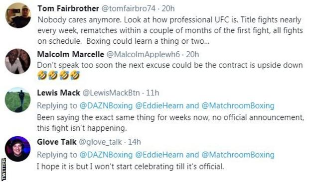 """Fans on Twitter voice frustrations over Anthony Joshua v Tyson Fury not yet being signed. One fan says """"Nobody care anymore"""" while another says """"I won't be celebrating until it's official."""""""