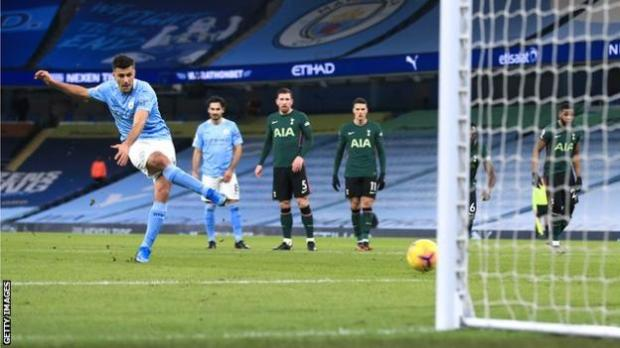 Rodri scores from the penalty spot for Manchester City against Tottenham