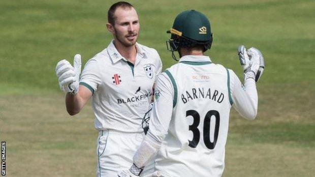 Worcestershire's Tom Fell was congratulated on hitting his first red-ball ton in almost five years by Ed Barnard