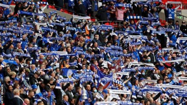 Leicester City fans, Wembley, FA Cup final 2021, Chelsea