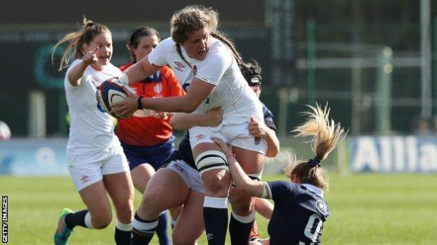 Poppy Cleall playing against Scotland