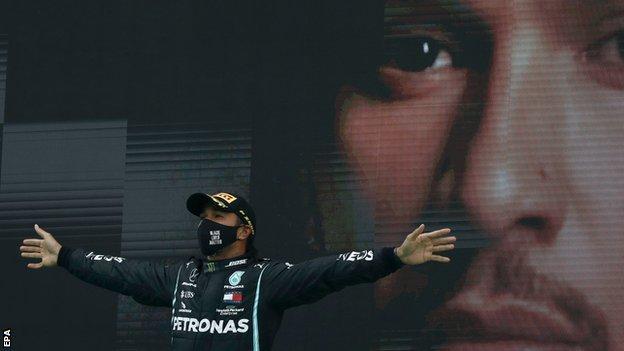Lewis Hamilton on the podium at Portimao