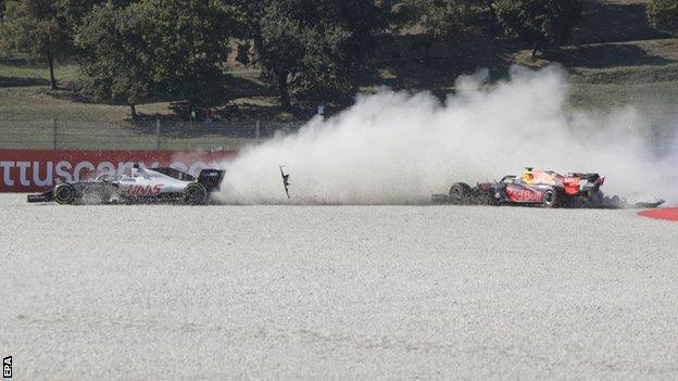 Max Verstappen crashes out of the race
