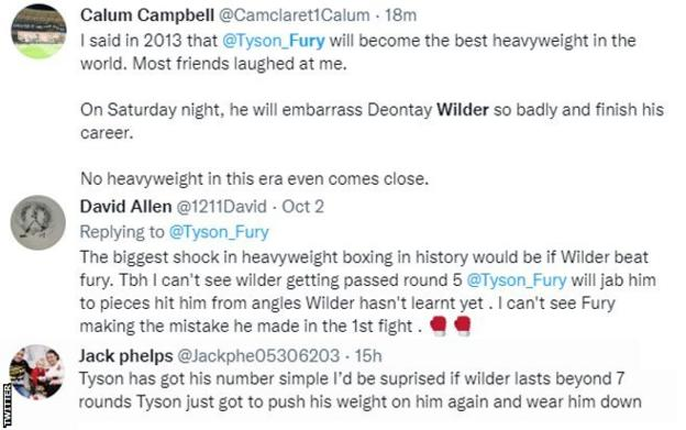 """Fans on Twitter discussing Fury-Wilder III. One fan says """"No heavyweight in this era even comes close"""", while another says """"I'd be surprised if Wilder lasts beyong seven rounds"""""""