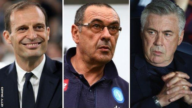 A split image of Juventus manager Massimiliano Allegri, Napoli boss Maurizio Sarri and former Bayern Munich manager Carlo Ancelotti