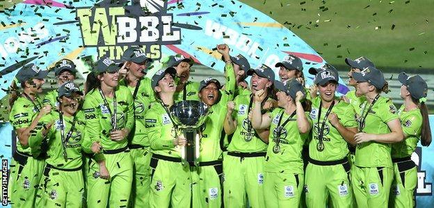 Sydney Thunder celebrate winning WBBL 2020