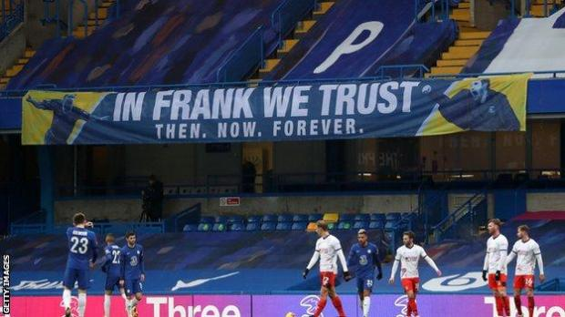 """""""In Frank we trust,"""" read a banner at Stamford Bridge during Sunday's FA Cup win over Luton"""