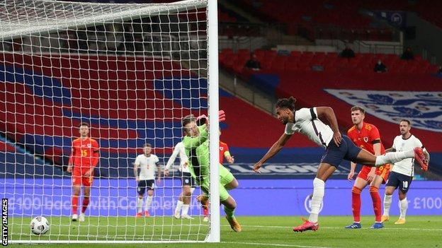 Dominic Calvert-Lewin heads in for England against Wales