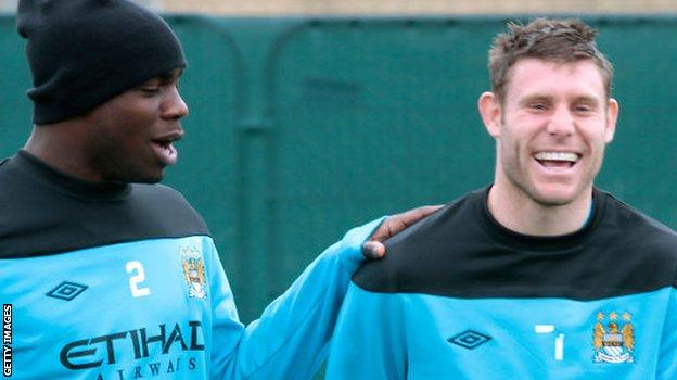 Micah Richards and James Milner when they were team-mates at Manchester City