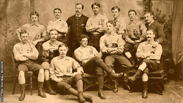 The image from 1881 is the Scotland team which defeated England 6-1 at the Oval in London. Watson made his debut and was selected as captain.