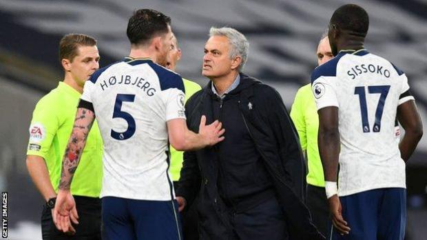 Hojbjerg and Mourinho after City win
