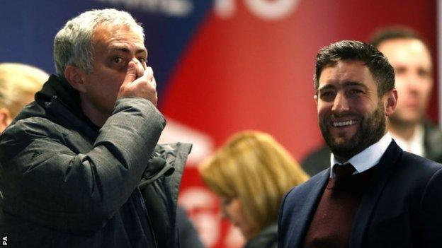 Jose Mourinho (left) and Lee Johnson