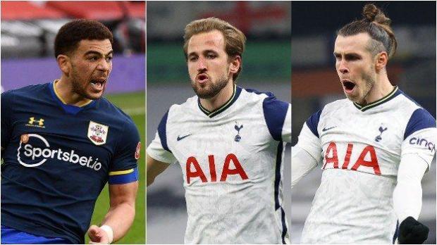 Southampton's Che Adams, Tottenham's Harry Kane and Gareth Bale